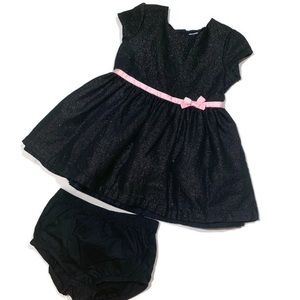 Carters Black Holiday Short Sleeve Dress Pink Bow